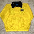 <p><strong>Yellow Nylon Windbreaker<br />Concealed tuck-away hood can be rolled into collar when not in use<br /></strong></p>